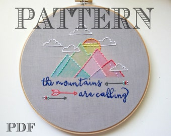 Embroidery Pattern>The Mountains Are Calling>Geometric Mountains>Instant Download PDF>Hand Embroidery Pattern>Printable Stitching Pattern