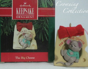1991 Hallmark The Big Cheese Keepsake Ornament Mouse Sleeping in Cheese Vintage Christmas