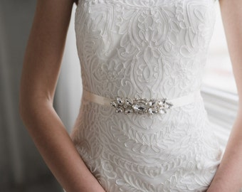 Crystal Bridal Sash   Small Rhinestone Wedding Belt   Petite Silver Bridal Belt Sash   The Satin VERA