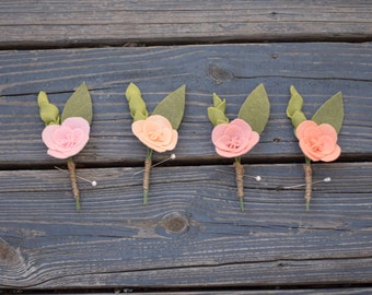Groomsmens' Boutonnieres - Felt Floral Boutonnieres - Set of four felt floral boutineers