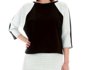 Black and White Quilted Sleeve Knit Top