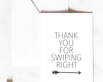 Funny Anniversary Card, thank you for swiping right, tinder card, funny couple card, love card, boyfriend girlfriend card, Greeting Card
