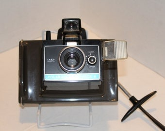 Vintage Polaroid Colorpack II Land Camera, Grey Plastic Polariod Camera, Cube Flash, Photography and Filmography (A014)