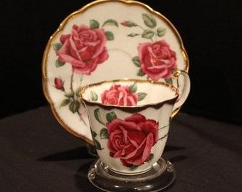 Vintage Adderley China, Large Pink Rose Tea Cup and Saucer, Adderley English Teacup, Bone China Teacup, English Rose Teacup (C211)