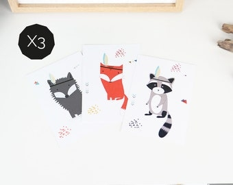 """3 postcards """"ANIMALS"""" - birthday cards - to decorate a baby's room - kids room - illustration raccoon, wolf and fox"""