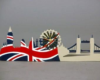 London skyline modern wall clocks Union Jack flag British flag Wooden clock Funky clocks Small wall clocks English clock British decor UK