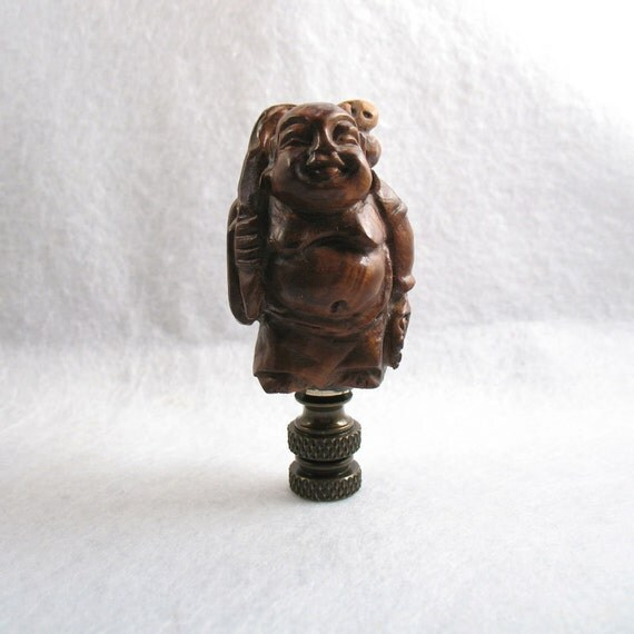 Lamp Finial: Carved Box Wood Figure Of A Chinese Man E19
