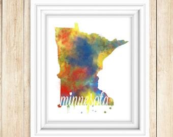 Minnesota Watercolor Print   MN Wall Art   State Watercolor Art Print   Minn. Wall Decor   State Folk Art  