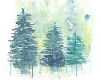 Tree Watercolor, Owl in the Trees Watercolor, Blue Forest Art Print, 8x11, Watercolor Painting, Mountain, Landscape, Owl, Nature Painting