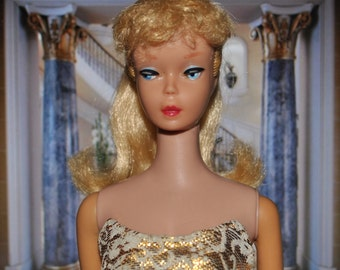 Vintage Blonde Ponytail Barbie wearing Evening Splendor Sheath Dress!! Possibly #4, #5 or #6