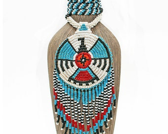 Vintage Native American, Hand Beaded Medallion Necklace with Beautifully Beaded Fringe