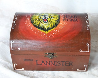 Game Of Thrones Lannister , Game of Thrones jewelry Box, House Lannister, Game of thrones box, Hear me roar, Personalized wooden box,