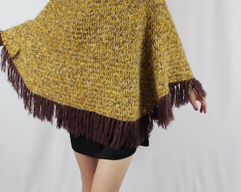 Fall Fever 1970s Knit Fringe Turtle Neck Mustard and Plum Poncho