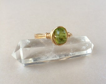 Gold and Peridot Wire Wrapped Ring August Birthstone