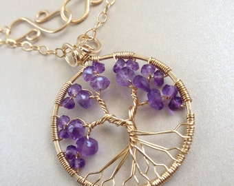 Amethyst Tree of Life February Birthstone Pendant Gold Tree-of-Life Aquarius Pisces 4th Anniversary 6th Anniversary Healing Crystal Chakra