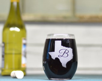 Wine Glass. Custom - Any State. & Letter Combination.  Stemless Wine Glass.