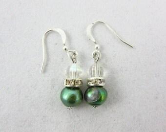 Green Freshwater Pearl Earrings Handmade Dangle Earrings Christmas Earrings