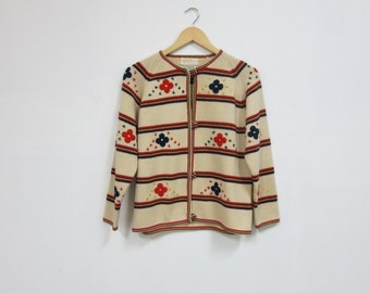 1960s Wool Knit Striped Cardigan w/Embroidered Flowers, MED/LRG