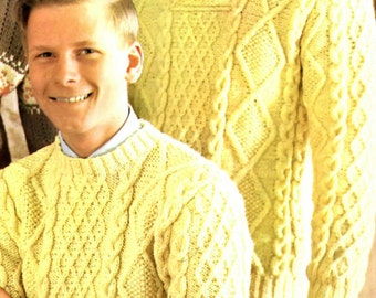 Boy's and Men's Retro Aran Isle Pullover Knitting Pattern from the 60s