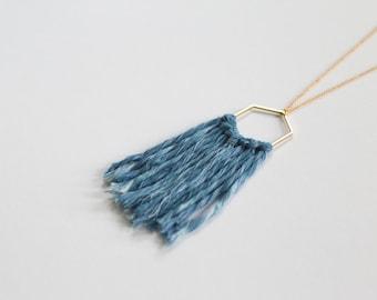 Indigo Dyed Fiber and Raw Brass Hexagon Necklace