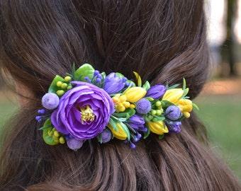 Purple hair clip Flower hair clip Wedding flower clip Wedding floral hair clip Bridal purple yellow hair clip Bridal hair fashion