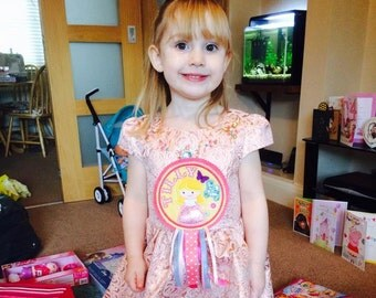 Personalised Cindy Princess Birthday Badge - Long Haired Princess Repunzel Inspired - Rosette - Floral - Vintage