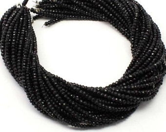 Exclusive Quality Black TOURMALINE Micro Faceted Roundell, 13 Inch Strand Natural Black Tourmaline Faceted Roundel Sized 3 mm (sku2103)