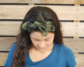 Olive Green and Black Plaid KNOT Headband // Infant Headband, Toddler Headband, Adult Headband
