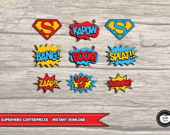9x SUPERHERO CENTERPIECES. INSTANT Download. Superhero Party Decorations. Cake Toppers. Birthday Party Supplies. Printables. Super Hero