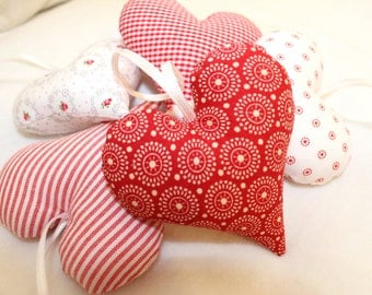 Fabric heart hearts set of 5 red white country house