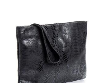 leather clutch purse - black clutch purse - evening clutch bag - leather clutch wallet - leather wristlet wallet - wristlet purse - Galla