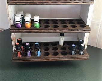Essential oil storage shelf (holds 72 bottles) Farmhouse style