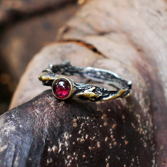 Sterling silver garnet ring emmy with gold plating for Garnet wedding ring meaning
