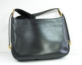 Black handbag Bally with shoulder strap  | Made in France vintage