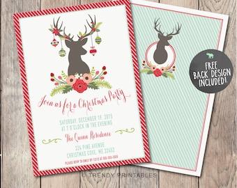 Christmas Party Invitation, Christmas Invitation, Christmas Dinner Invitation, Christmas Cheer, Rustic Christmas Invitation, Reindeer [296]