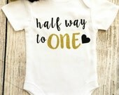 Half Birthday - 6 Month Baby Girl Outfit - Black Gold Glitter Bodysuit & Headband - Photoshoot, Photo Prop Baby Shower Gift Onesie