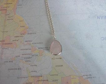 Rose Quartz Pendant Silver Chain Rose Quartz Teardrop Necklace Genuine Rose Quartz Necklace Different Quartz Pink Gemstone Necklace N0778