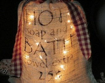 Hot Soap and Bath 12 x 20 inch Lighted Burlap Sack