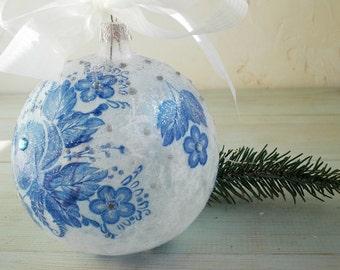 Christmas Decor, Christmas tree decorations, glass, Christmas, Decoration, Home decor, Holidays, Gift, Christmas Ornament,  Blue, Gzhel