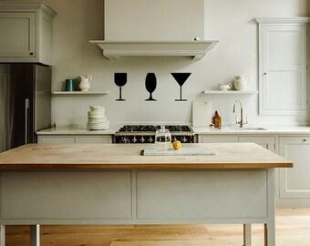 Wine glasses- wall decal, kitchen decor