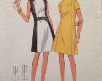 Butterick 4795 - 1960s Semi Fitted A Line Dress with Contrast Front Panel and Mandarin Collar Option - Size 14 Bust 356