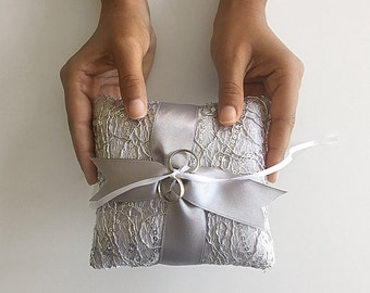 EXPRESS SHIPPING, Wedding Ring Bearer Pillow, Silver Sequin Fishnet Pillow, Silver Satin Ribbon, Silver Ring Bearer Pillow, Sequin Pillow