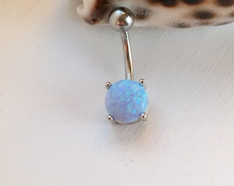 Opal Belly Button Ring. Blue Opal Belly Ring.Synthetic Opal.225.