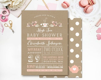 High Tea Baby Shower Invitation - Tea Party - Kraft - Boy or Girl - Printable - DIY