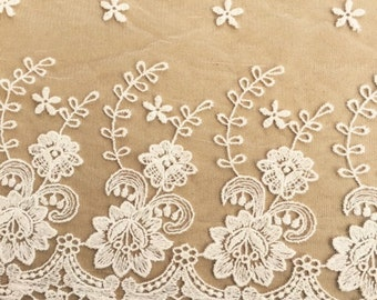 wide handdyed lace. vintage cotton lace.