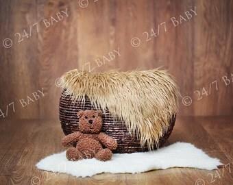 Newborn Digital Backdrop Download Natural Basket Prop Wood Background Teddy Bear Newborn Baby Photography