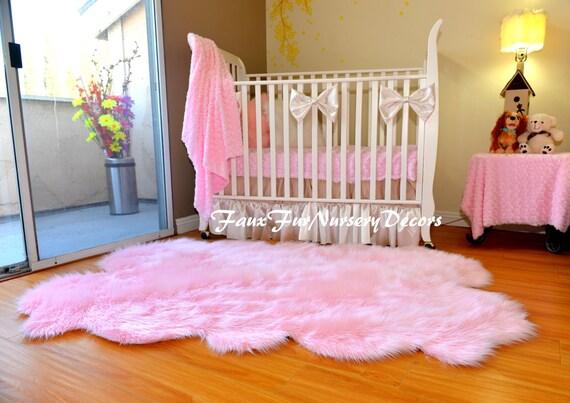 Pink Faux Fur Rug by FauxFurNurseryDecors