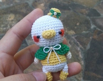 Amigurumi A duckling with Green Shawl and Yellow boots