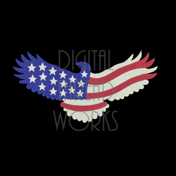 American Flag Eagle Embroidery Design For 4x4 5x7 And 6x10
