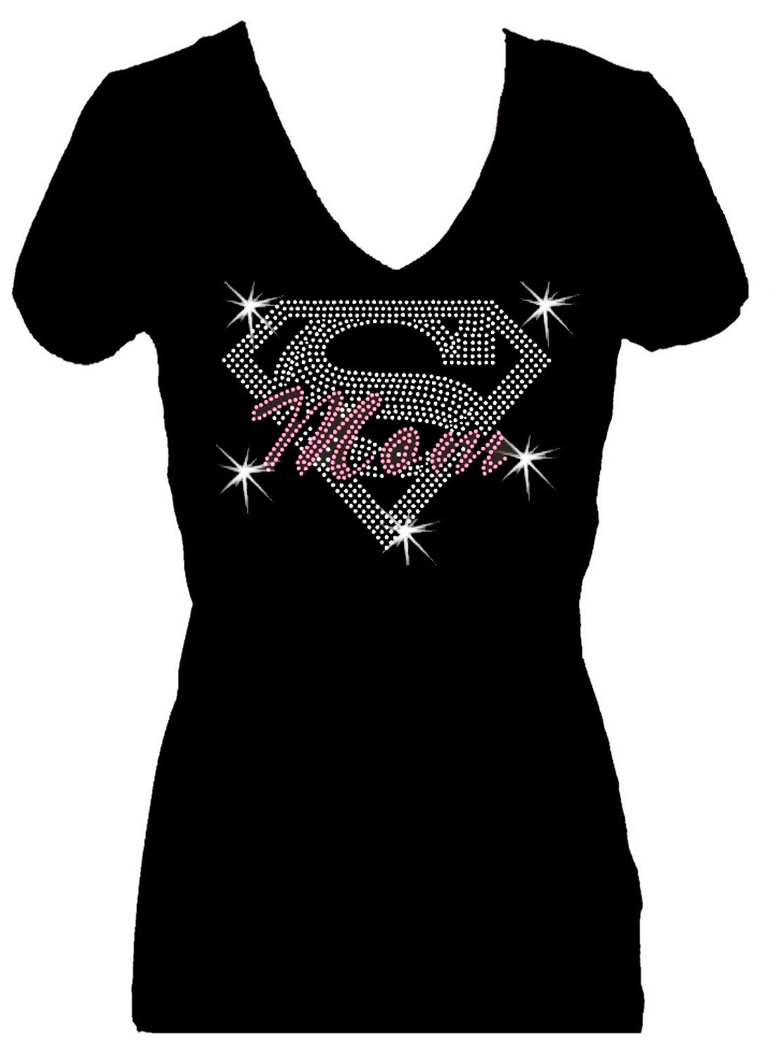 Supermom mothers day v neck short sleeve womens bling for Women s embellished t shirts